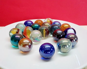 Vintage Marbles, Old Playing Marbles, Glass Marbles, 20 Marbles, Various Colored Marbles