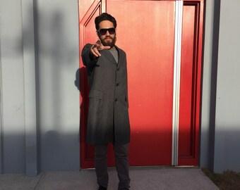 Alpacuna Classic Charcoal Herringbone 100% Wool Suit Jacket Overcoat 1950s