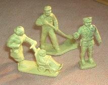 Vintage 3pc. Marx Railroad/Gas Station CIVILIAN Figures, cream Soft Plastic, three poses, 45mm, EXC.