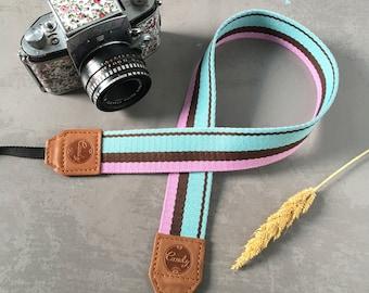 Pink Brown Blue Mix DSLR camera strap, Camera Strap, leather camera Strap ,Gift for her