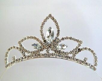 TODDLER BIRTHDAY CROWN ,Wedding Flower Girls Tiara, Toddler Tiara, Girls Tiara ,Girls Birthday rhinestone Crown, jeweled tiara,Recital gift