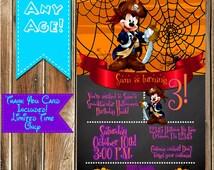 Mickey Mouse Pirate Birthday HALLOWEEN INVITATION & thank you card-Mickey Mouse Pirate Halloween invite-Annual Halloween Invitation