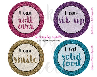 Baby Girl Milestone Stickers - Faux Glitter