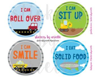 Baby Boy Milestone Stickers - Cars / Transportation Theme
