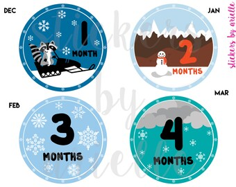 Month by Month Baby Boy Stickers - Winter Theme