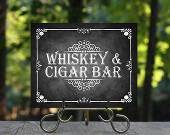 Printable Chalkboard Wedding Cigar & Whiskey Sign, Wedding Bar, Alcohol Sign, Rustic Wedding Sign, Chalkboard Sign, Smoking Sign, Printable