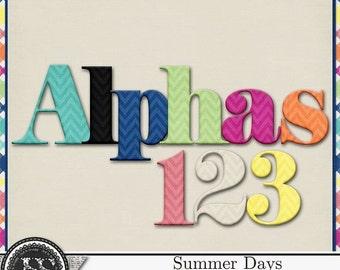 On Sale 50% Off Summer Days, Beach, Swim, Alphabets for Digital Scrapbooking