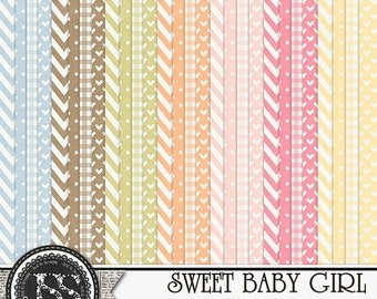 On Sale 50% Off Sweet Baby Girl Patterned Papers and Backgrounds for Digital Scrapbooking and Paper Crafting
