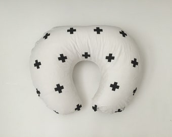 Boppy Cover - Black and White with Plus