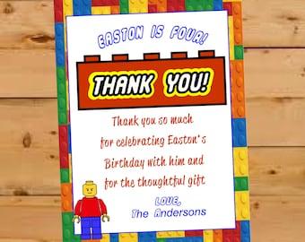 Lego Thank You Card, Birthday Thank You, Lego Thank You, Legos Thank You Card, Kids Thank You Card, Fill in the Blank Thank You, Lego Bday