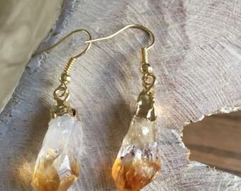 Organic Form Citrine Earrings