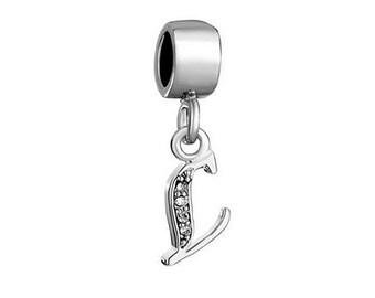 Initial L Charm, Letter L Bead, Bracelet Charm Beads, European Charms, Large Hole Bead, European Bracelet Charm, Charm Bracelet Bead