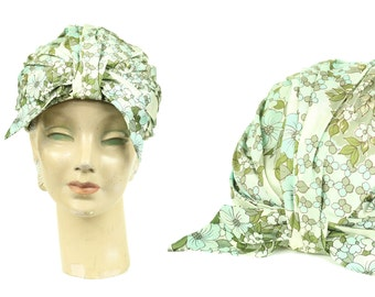 60s Pale Blue Floral Turban Bow Hat