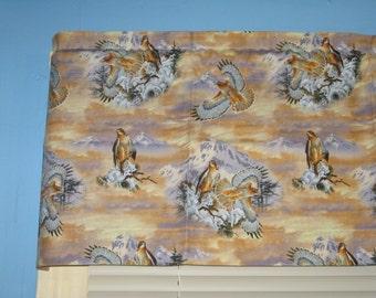 Golden Eagle 100% Cotton Handmade Brown light orange gray blue Window Valance