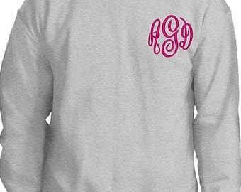 Monogrammed Crew neck Sweatshirt Left Chest--Unisex Fit--fall winter apparel--Game day and football team colors