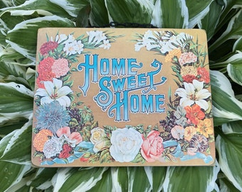 "Vintage Wooden ""Home Sweet Home"" Floral Wall Hanging"