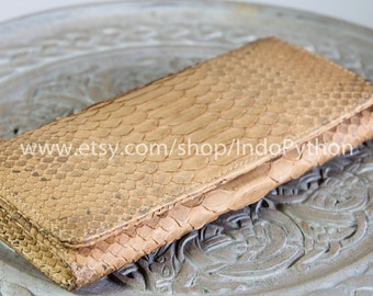Python Purse Genuine Leather Exotic SnakeSkin Wallet Beige