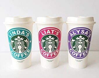 Set of 3 Personalized Starbucks Cups