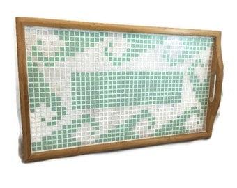 Mosaic Serving Tray in Aqua Wave