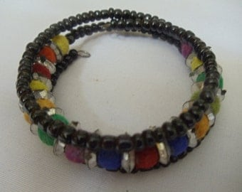 Colourful beaded cuff bracelet