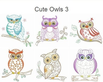 Cute Owls 3 Machine Embroidery Designs Pack Instant Download 4x4 5x5 6x6 hoop 10 designs APE2362