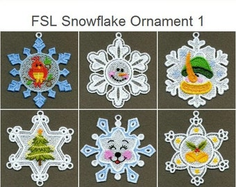 FSL Snowflake Ornament - Free Standing Lace Machine Embroidery Designs Instant Download 4x4 hoop 10 designs SHE1741