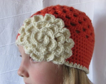 Girls Crocheted Hat - Fall Hat - Orange hat with Flower - Granny Square Hat - Crocheted Beanie