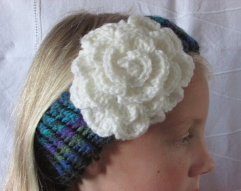 Knitted Ear Warmer - Girl's Knitted Head Band - Loom Knitted - Crocheted Flower - Teals and Purples - Boho Headband