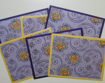 Kids cards-set of 6,Blank Halloween cards,card sets,fun fall cards,purple stationery,blank cards,whimsical cards,handmade/homemade cards
