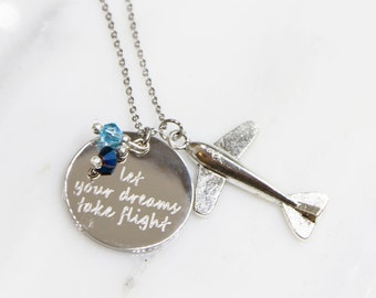 Airplane Necklace, Personalized Airplane Necklace, Airplane Jewelry, Birthstone Jewelry, Flight Attendant Gifts, Travel Necklace, Airplane