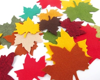 12 Small Leaf Wool Blend Felt Die Cuts