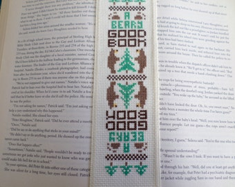 A Beary Good Book Cross Stitched  Bookmark