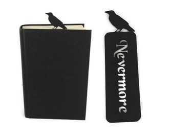 Raven bookmark Nevermore Edgar Allan Poe gothic style literary gift for book lovers. 19th century romanticism, Quoth the raven Nevermore