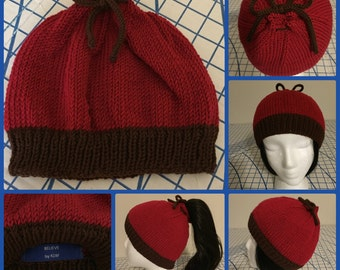 2Way Hat in Red & Chocolate