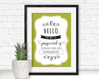 Digital File | Wifi Password Art | Hello the wifi password is  Printable