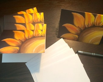 Set of 5 Sunflower Note cards