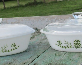 Vintage 2 Oven dishes Lid Glassbake USA 77 Casseroles green Floral motif