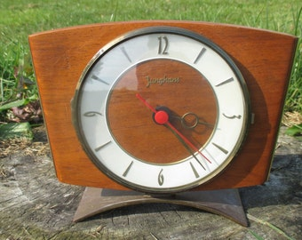 Vintage Mid Century Junghans Table Clock Working Condition German Battery