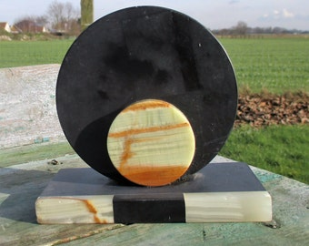 Art Deco Antique Paper Weight Base Marble Round