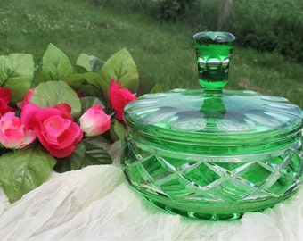 Crystal Cut to Clear Diamond Bowl Candy Dish with Lid Emerald green Bohemian