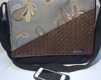 SALE Big waterproof messenger bag, for school or work. Paisley pattern big flap.