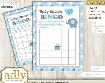 Blue Grey Peanut Bingo Game Printable Card for Baby Boy Shower DIY grey, Blue Grey Polka -oz69bsB3
