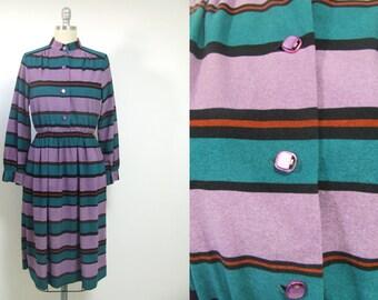 Vintage stripe dress, long sleeves dress, hippie dress, mod dress, boho dress, art deco, midi dress, turquoise dress, purple dress, retro
