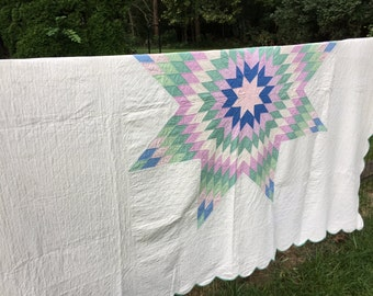 Beautiful Vintage Lone Star Quilt Blue Green Purple  77X91 1950s