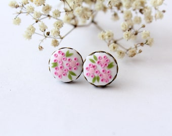 Pink flower stud earrings, polymer clay stud earrings, embroidered earrings, minimalist modern earrings, Pink floral studs tiny earrings