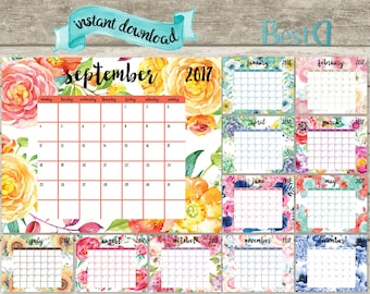 2017 printable planner calendar,watercolor planner calendar,watercolor flowers calendar,monthly planner calendar,Instant Download calendar