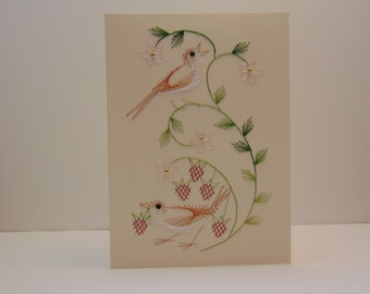 Birds with Strawberries Greeting Card
