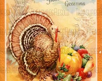 Retro Turkey Happy Thanksgiving Day Harvest Card #429 Digital Download