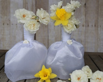 3 Bridal Dresses Flower Vases. Great for Bridal Showers or Wedding. Beautiful Satin Dress turned into a Unique Floral Centerpiece.