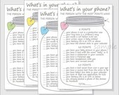 What's in your phone? Baby Shower Game Printable DIY Cell Phone Mason Jar - girl - boy - gender neutral - pink, blue, yellow & green hearts